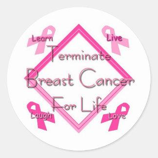 Terminate Breast Cancer Classic Round Sticker