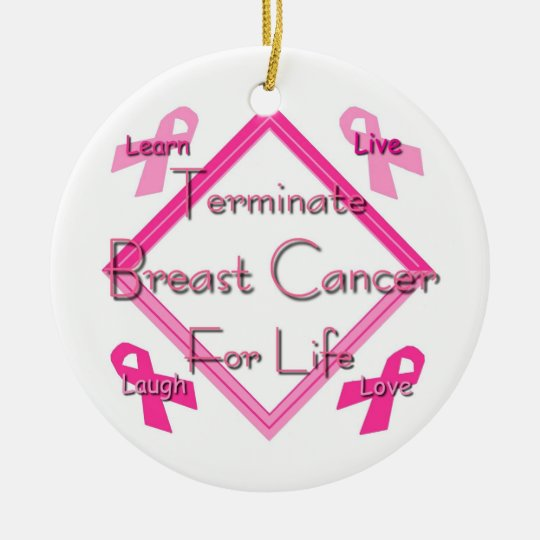 Terminate Breast Cancer For Life Ceramic Ornament