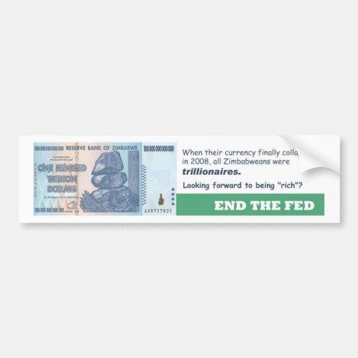 Termine el fall de la moneda de FED - de Zimbabwe Etiqueta De Parachoque