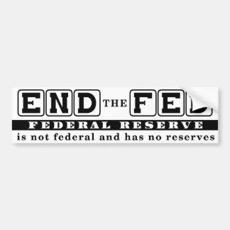 Termine el FED Etiqueta De Parachoque