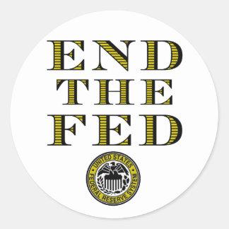 Termine el FED Federal Reserve Pegatina Redonda