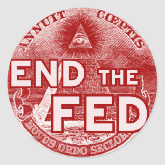TERMINE EL FED - ocupe/ahora/los banksters/anónimo Etiquetas Redondas