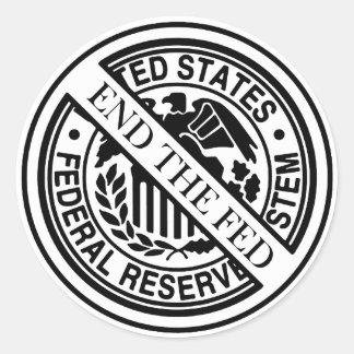 Termine el sistema de FED Federal Reserve Pegatina Redonda