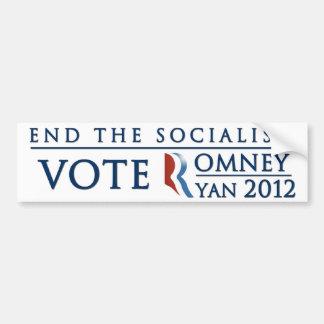 Termine el voto Romney Ryan 2012 del socialismo el Pegatina Para Auto