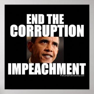 Termine la corrupción - acuse a Obama Póster