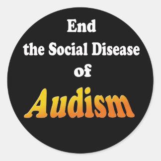 Termine la enfermedad social de Audism Pegatinas Redondas