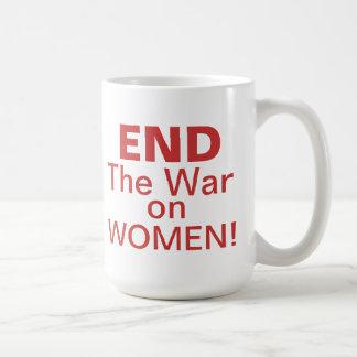 Termine la guerra en mujeres taza básica blanca