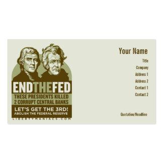 Termine las tarjetas de acción de FED Tarjetas De Visita