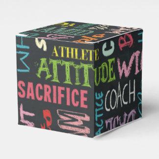 Términos de la alegría en la pizarra caja para regalos