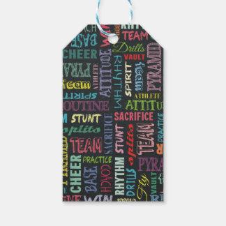 Términos de la alegría en la pizarra etiquetas para regalos