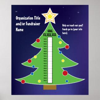 Termómetro del árbol de navidad de la diversión póster