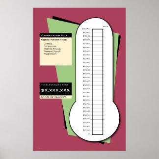 Termómetro Fundraising incluyendo columna de fecha Póster