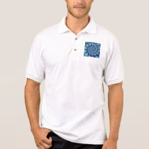 Terquoise Blue Balls Fractal Pattern Polo Shirt
