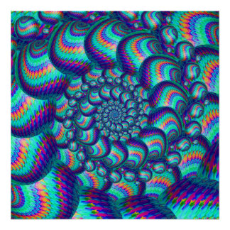 Terquoise Blue Balls Fractal Pattern Poster