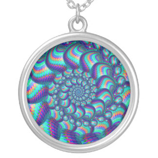 Terquoise Blue Balls Fractal Pattern Round Pendant Necklace
