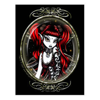 Terra Cameo Red Tattooed Fairy Postcard