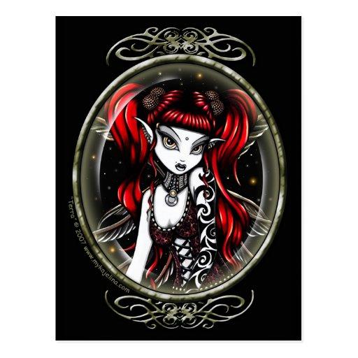Terra Cameo Red Tattooed Fairy Postcard