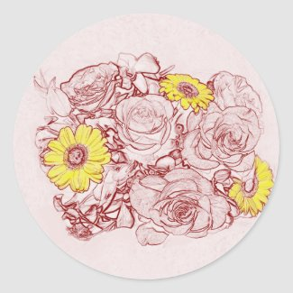 Terra  Cotta Edged Bouquet Classic Round Sticker