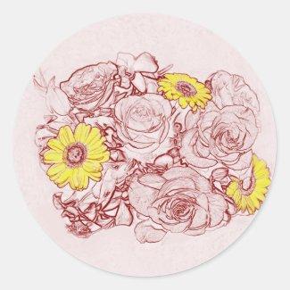 Terra Cotta Edged Bouquet Classic Round Sticker