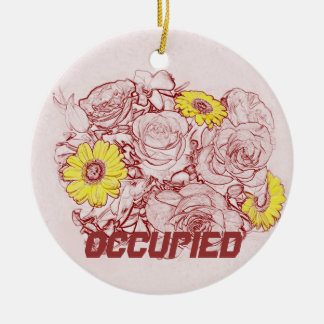 Terra  Cotta Edged Bouquet Double-Sided Ceramic Round Christmas Ornament