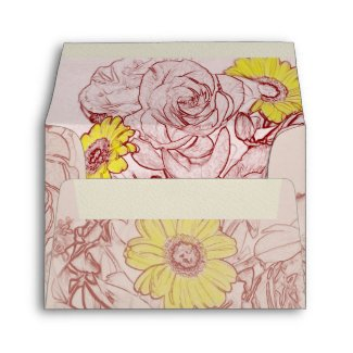 Terra  Cotta Edged Bouquet Envelope