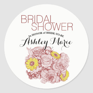 Terra  Cotta Outlined Bouquet Classic Round Sticker