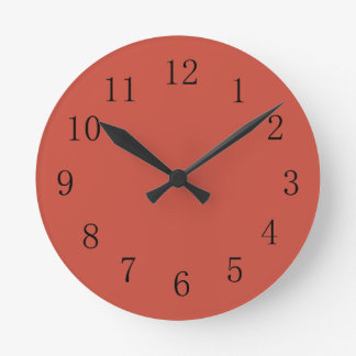 Terra Cotta Red Earth Tone Kitchen Wall Clock