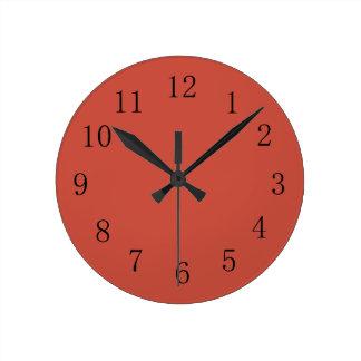 Terra Cotta Red Earth Tone Kitchen Wall Clock