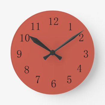 Terra Cotta Red Earth Tone Kitchen Wall Clock by Red_Clocks at Zazzle