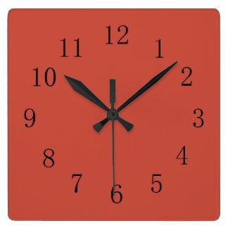 Terra Cotta Red Earth Tone Square Wall Clock