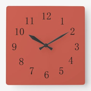 Terra Cotta Red Earth Tone Square Wall Clock by Red_Clocks at Zazzle