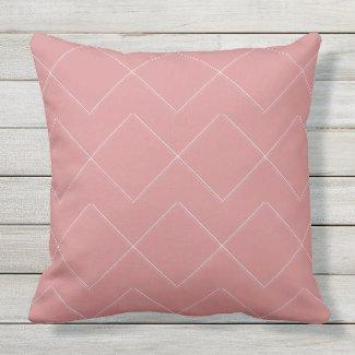 Terra Cotta Rose Geometric Outdoor Pillow 20x20