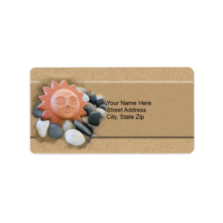 Terra Cotta Sun On Sand And Rocks Personalized Address Labels