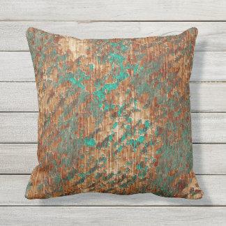Terra Cotta Turquoise Grunge Plaster Effect Outdoor Pillow
