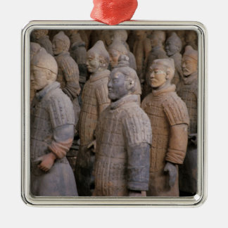 Terra Cotta warriors in Emperor Qin Shihuang's Square Metal Christmas Ornament