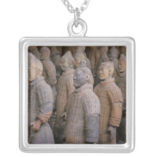 Terra Cotta warriors in Emperor Qin Shihuang's Square Pendant Necklace
