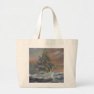 Terra Nova heads into a fierce Gale Dawn Large Tote Bag