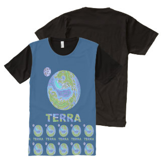 Terra Planet Earth Space Geek Blue And Green All-Over Print T-shirt