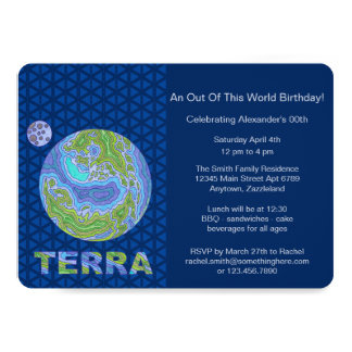 Terra Planet Earth Space Geek Blue And Green Card
