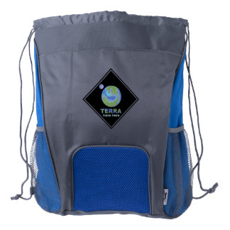 Terra Planet Earth Space Geek Blue And Green Drawstring Backpack