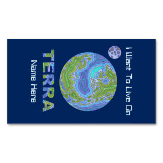 Terra Planet Earth Space Geek Blue And Green Magnetic Business Cards (Pack Of 25)