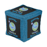Terra Planet Earth Space Geek Blue And Green Cube Pouf