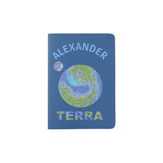 Terra Planet Earth Space Geek Blue And Green Passport Holder