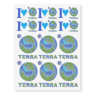 Terra Planet Earth Space Geek Blue And Green Temporary Tattoos