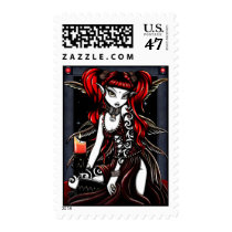 faery, fire, red, tattoo, candle, fairy, faerie, fairies, gothic, myka, jelina, fantasy, art, fine, stamps, postage, fine art, Stamp with custom graphic design