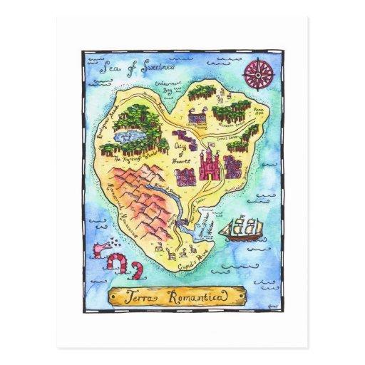 Terra Romantica Map Postcard