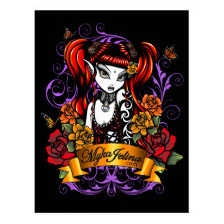 Terra Rose Gothic Tattooed Fantasy Fae Postcard