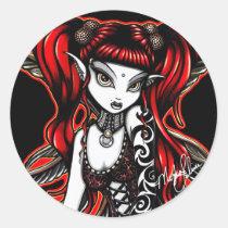 terra, stickers, tattooed, fire, fairy, myka, jelina, red, head, tattoos, tribal tattoos, gothic, fantasy, dark, fairies, faerie, fae, goth, art, Sticker with custom graphic design