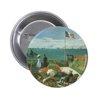 Terrace at the Seaside by Claude Monet Pinback Button