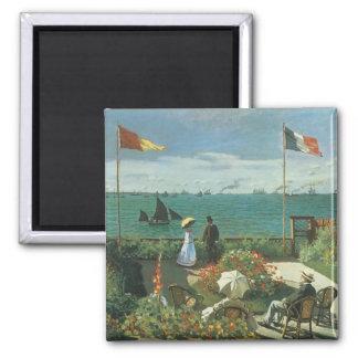 Terrace at the Seaside, Saint Adresse Claude Monet 2 Inch Square Magnet